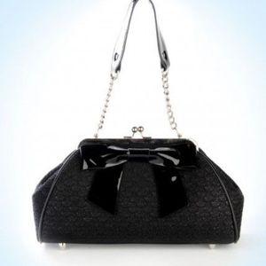 Pinup Couture Black Sparkle Lace Kisslock Purse